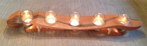 5 Light Candle Holder - Cherry with Walnut accent